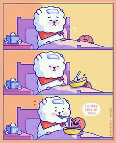 Shooky look RJ sick and Shooky Caring RJ BT21 created by Suga and Jin 방탄소년단