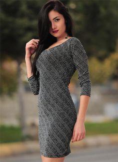 Bayan Elbise Simli Desenli Kül   Modelleri ve Uygun Fiyat Avantajıyla   Modabenle
