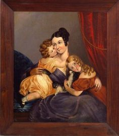 Portrait of a Mother and Her Two Children and Spaniel. Unsigned. Oil on canvas, c. 1845, 30 x 25 in. in a period mahogany veneer frame. Condition: Relined, scattered retouch.     Literature: A similar painting is illustrated in The China Trade: Export Paintings, Furniture, Silver & Other Objects, by Carl Crossman, the Pyne Press, Princeton, 1972, p. 45.