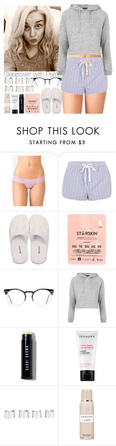 """Sleepover with Perrie."" by outfitsbynina9 ❤ liked on Polyvore featuring Forever 21, Topshop, GANT, Starskin, Spitfire, Bobbi Brown Cosmetics, Sephora Collection, Maison Margiela and Carven"