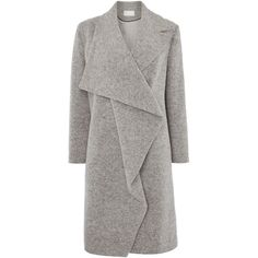 Gray & Willow Jonna waterfall coat (£189) ❤ liked on Polyvore featuring outerwear, coats, grey, women, woolen coat, waterproof coat, single-breasted trench coats, single breasted wool coat and grey coat