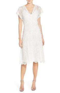 Yoana Baraschi 'Panama' Tea Length Embroidered Lace Dress