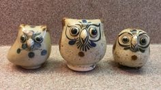 LOT OF 3 MEXICAN FOLK ART POTTERY OWLS - 2 SIGNED BY ARTIST