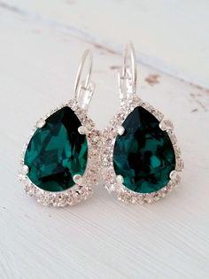 Emerald drop earrings | emerald green crystal earrings by EldorTinaJewelry on Etsy | http://etsy.me/1PIfSnq