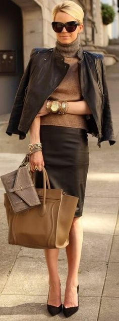 Black leather skirt,jacket,pumps and handbag
