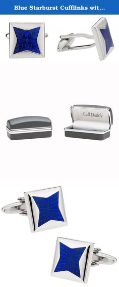 Blue Starburst Cufflinks with Gift Box. Here's an amazing set of enamel cufflinks. We also carry this in several other colors. These include a rhodium silver overlay, which makes them entirely maintenance free. Covered by Cuff-Daddy's lifetime product warranty. Cufflinks arrive in a high-quality presentation box.