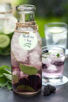 """20 Infused Water """"Recipes"""" - Style Me Pretty Perfect! I love doing infused water, I want to know where to get those bottles! Refreshing Drinks, Fun Drinks, Yummy Drinks, Healthy Drinks, Healthy Snacks, Healthy Recipes, Beverages, Healthy Water, Detox Recipes"""