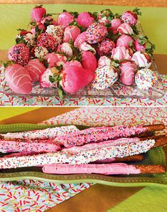 """A Cupcake Baby Shower Sprinkle with pink chocolate sprinkled strawberries, pink lemonade cupcakes & sprinkle bar + """"Thanks for popping"""" by… Baby Shower Desserts, Baby Shower Parties, Baby Shower Themes, Shower Ideas, Baby Showers, Baby Girl Sprinkle, Sprinkle Party, Baby Sprinkle Shower, Idee Baby Shower"""