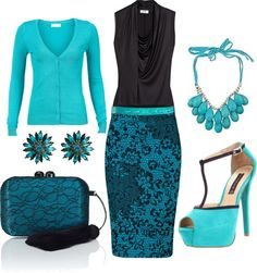 """Teal and black"" by mom23jmc on Polyvore"