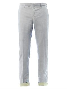 $338, Beige Vertical Striped Chinos: Incotex Striped Slim Fit Chinos. Sold by MATCHESFASHION.COM. Click for more info: https://lookastic.com/men/shop_items/292674/redirect