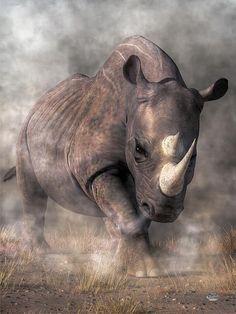 Rhino Digital Art - Angry Rhino by Daniel Eskridge Reptiles, Mammals, Rhino Pictures, Rhino Tattoo, Rhino Art, White Rhinoceros, Save The Rhino, Desenho Tattoo, Tatoo