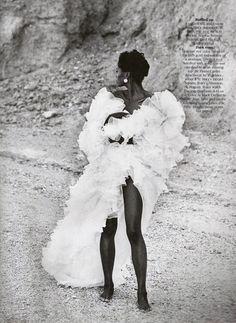Star Turns I US Vogue I December 1989 I Photographer: Peter Lindbergh I Editor: Carlyne Cerf de Dudzeele I Models: Nadege de Bospertus, Karen Alexander, Christy Turlington, unknown.
