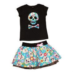 Blue Mexican floral sugar skull skirt and t-shirt outfit for girls and babies www.alternatots.com
