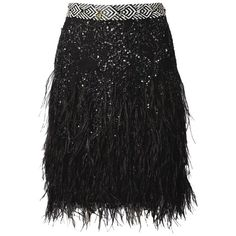 Matthew Williamson Black Lattice Lace Feather Embroidered Skirt (€1.560) ❤ liked on Polyvore featuring skirts, multicolor, short, short skirts, lace overlay skirt, lace skirts, embellished skirts and multi color skirt
