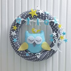 Customized Name, Cute Big Owl and Star Tree, Pastel Colors, For Baby Girl or Boy  Door Wreath, Gray-White Polka Dots