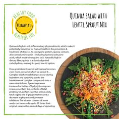 Good4U - Blog. Find out the health benefits of out quinoa salad with lentil sprout mix! #cleanplate. For healthy recipe follow the link. Eat clean. Clean eating. Healthy. Easy. Eating Healthy, Get Healthy, Clean Eating, Healthy Recipes, Clean Plates, Complete Protein, Clean Clean, Quinoa Salad, Amino Acids