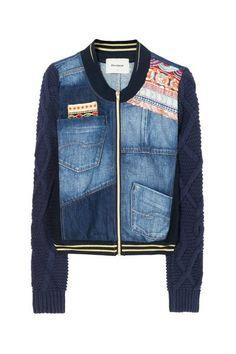 Jas Exotic Laudio Desigual.;Wintercollectie 2017 jeans jacket blue denim spijkerstof jasje print