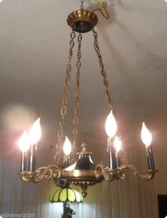 Vintage Empire Bronze French Black Chandelier From 1950's #France $675 ebay