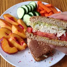 I made the most EPIC lunch today I had a sandwich on whole grain bread with mashed avocado, tomatoes, chicken, onion, salt & pepper and red pepper flakes. On the side was carrots, half a cucumber and a peach❤️❤️❤️❤️ This was a HUGE lunch for me! Calorie wise it wasn't much (aiming for a high cal lunch b/c I am burning so much) but it was SO filling. I ate everything except a few bites of my sandwich. I have a food baby now, but it's okay because it's filled with healthy, nutritiou...