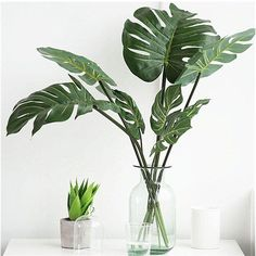 Buy Artificial Plants Monstera Palm Tropical Plant Green Leaves Home DIY Decoration Wedding Party Office Store Decorations Small Artificial Plants, Artificial Plant Wall, Artificial Flowers, Fake Plants Decor, Plant Decor, Cheap Fake Plants, Trees To Plant, Plant Leaves, Tree Leaves