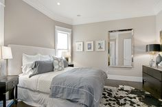 Neutral Bedroom Paint Colors | Relaxing master bedroom with Hampshire Taupe 990 wall color