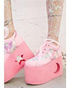 X Dolls Kill Little Twin Stars Qozmo Lo Platforms Sock Shoes, Cute Shoes, Me Too Shoes, Shoe Boots, Shoes Heels, Shoes Sneakers, Kawaii Shoes, Kawaii Clothes, Pastel Goth Fashion
