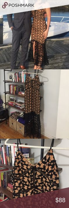 Black and nude lace cocktail dress Trendy cocktail dress recently purchased at a boutique in New York City. In great shape and only been worn once. Black lace detail throughout dress. Bottom of dress is just lace and opens in front. Fits snuggly and has adjustable straps. Size is medium but comparable to size 4 or 6. Great for a wedding! Few Moda Dresses Midi