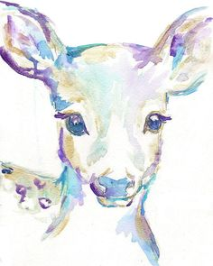 "Print of Original Watercolor Painting ""Freckles the Fawn"" by Jess Buhman , $25.00 Deer Art Nursery"