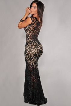 Two-toned Sexy Lined Long Lace Evening Dress LC6350 new 2014 sexy summer  dress for 5b89f99de2c