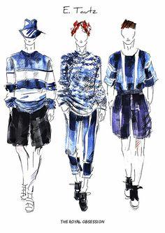 E.Tartz  Menswear Spring 2015. Fashion Illustration by Doryanna Popa.