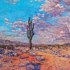 Desert oil painting of Arizona landscape, by contemporary impressionist artist Erin Hanson, framed in a gold Open Impressionist frame Erin Hanson, Impressionist Paintings, Landscape Paintings, Oil Paintings, Landscape Art, Landscape Design, Arte Van Gogh, Modern Impressionism, Contemporary Landscape