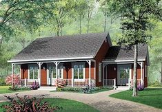 House Plan 65395 - Bungalow, Cabin, Ranch Style House Plan with 1147 Sq Ft, 3 Bed, 1 Bath Cottage Style House Plans, Ranch House Plans, Cottage House Plans, Country House Plans, Small House Floor Plans, Best House Plans, Ranch Style Homes, Country Style Homes, Drummond House Plans