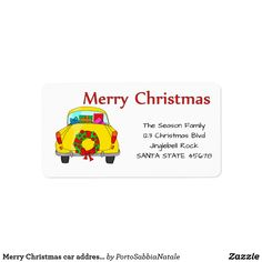 Merry Christmas car address label