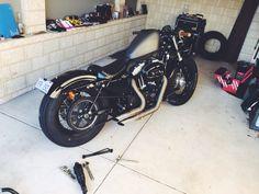 Sportster, bobber, forty eight, firestones, rigid, le pera, tuck roll, custom, harley davidson, motorcycle
