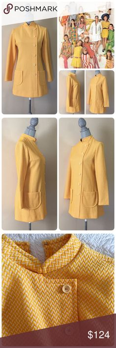 Iconic Vintage 60's yellow long sleeve dress, M 😍 Iconic vintage dress from the 60's, yellow & white, textured chevron pattern, zipper & hook & eye closure in back, see pics. Use tag states 10, more of a modern 6/8, Medium. Just wonderful! Will list measurements soon. Photos do not do this piece justice... Vintage Dresses