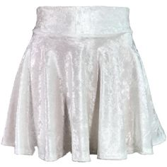 White Crushed Velvet High Waisted Skater Skirt Clubwear, Rave Wear,... ($28) ❤ liked on Polyvore featuring skirts, mini skirts, mini skater skirt, flared skirts, high waist skirt, flared mini skirt and circle skirts