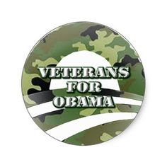 Veterans for Obama Round Stickers