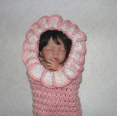 Newborn Crochet Baby Cocoon with Hood, Pod, Photo Prop in Pink and White Ready To Ship. $28.00, via Etsy.