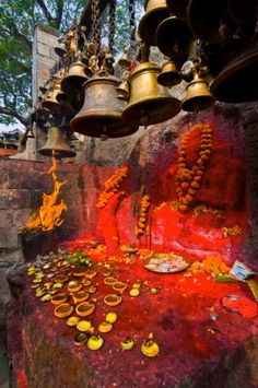 Luck bells for the pilgrims in the Kamakhya Hindu temple, Guwahati, Assam, India, Asia