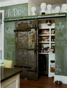 industrial kitchen pantry - with chalk board wall