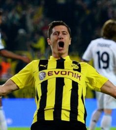 Robert Lewandowski played in scoring all four goals in Borussia Dortmund's 4-1 win over Real Madrid. Lewandowski became the first player in Champions League history to score four goals against Real Madrid