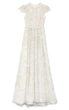 Valentino Avorio Multi Tulle Illusione Gown in White (Avorio Multi)