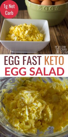 A simple keto egg salad recipe with only 3 ingredients. This quick and easy dish keeps you full for hours. It's perfect for an egg fast too! Keto Egg Salad, Easy Egg Salad, Easy Salad Recipes, Easy Dinner Recipes, Easy Meals, Eggfast Recipes, Simple Egg Recipes, Low Carb Egg Salad Recipe, Simple Keto Meals
