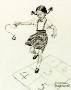 """Hopscotch"" ... by Norman Rockwell"