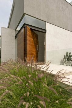 stucco and pivot door