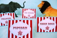PRINTABLE Table Labels  Carnival/Circus by GwynnWassonDesigns, $6.50