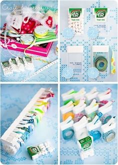 Use Tic Tac containers to organize and dispense ribbon.