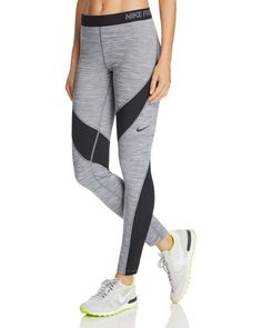 Dont let cold weather keep you from working out--Nikes Hyper Warm leggings hold the heat in while still wicking sweat for a comfortable fit when the temps drop. | Shell: polyester/spandex; panels: p