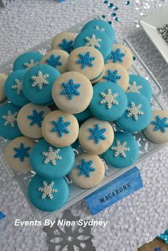 Gorgeous snowflake topped macarons at a Frozen Birthday Party!  See more party ideas at CatchMyParty.com! #girlparty