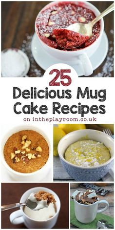 I have to try these 25 mug cake recipes, so many different varieties from nutella mug cakes to lemon mug cake. The apple and cinnamon mug cake with frosting is my favourite! (healthy sweet treats mug cakes) Microwave Mug Recipes, Mug Cake Microwave, Baking Recipes, Cake Recipes, Dessert Recipes, Desserts In A Mug, Recipe For Mug Cakes, Single Serving Desserts, Mug Deserts